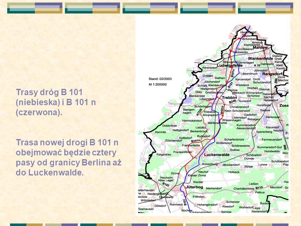 Trasy dróg B 101 (niebieska) i B 101 n (czerwona).