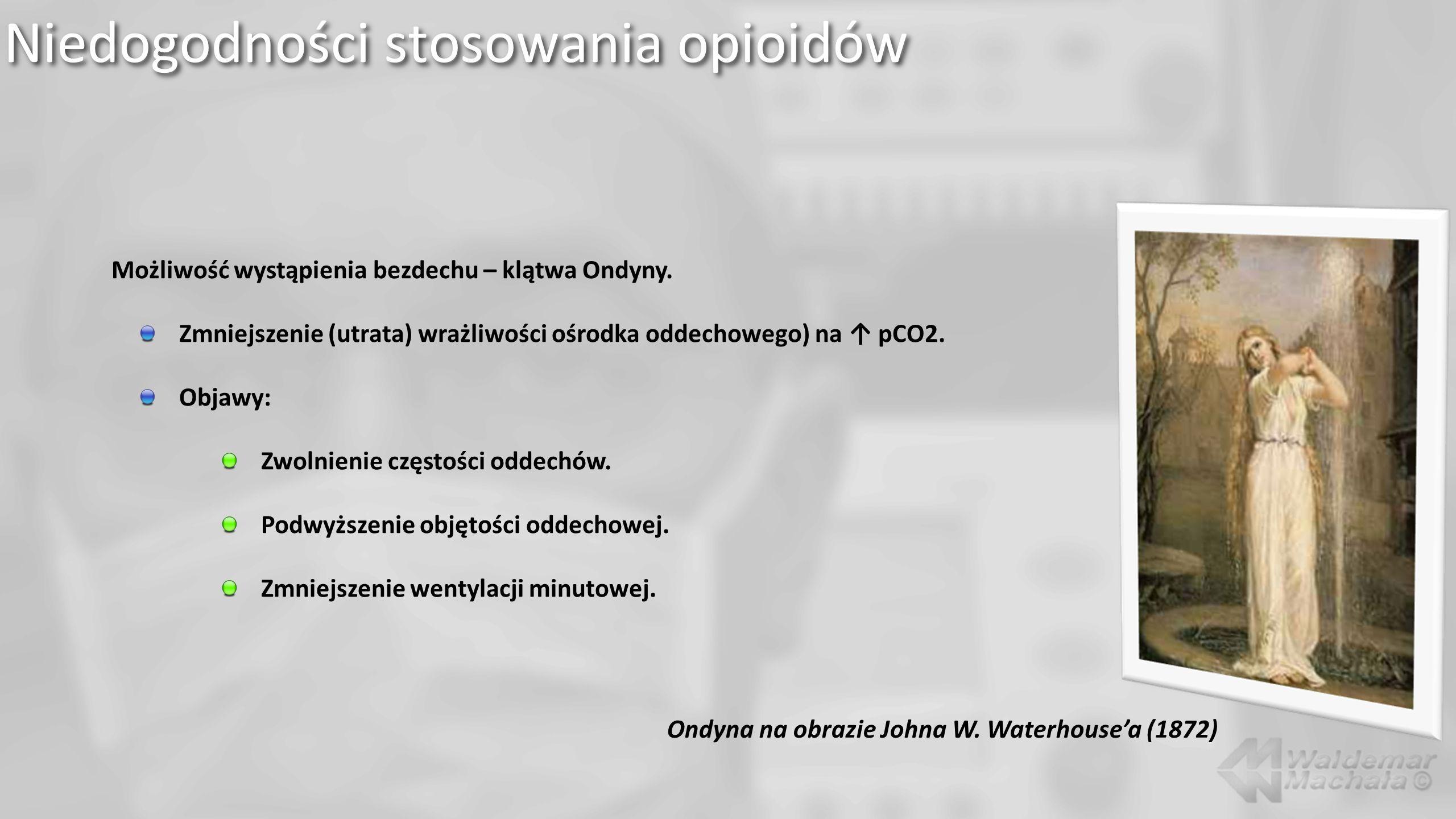 Niedogodności stosowania opioidów Możliwość wystąpienia bezdechu – klątwa Ondyny. Zmniejszenie (utrata) wrażliwości ośrodka oddechowego) na pCO2. Obja