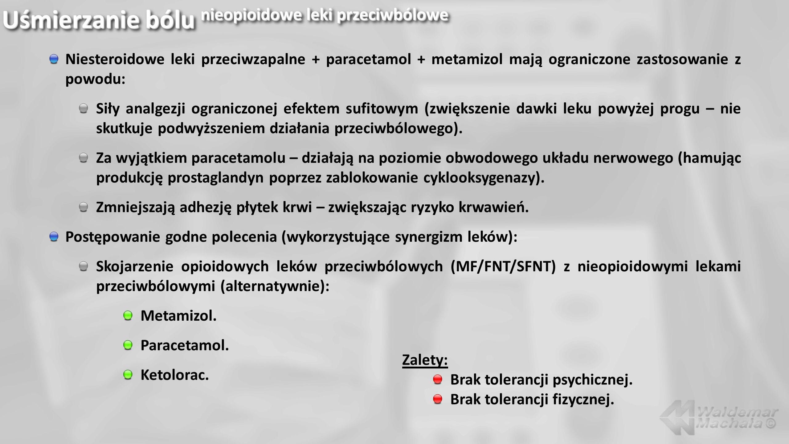 Niesteroidowe leki przeciwzapalne + paracetamol + metamizol mają ograniczone zastosowanie z powodu: Siły analgezji ograniczonej efektem sufitowym (zwi