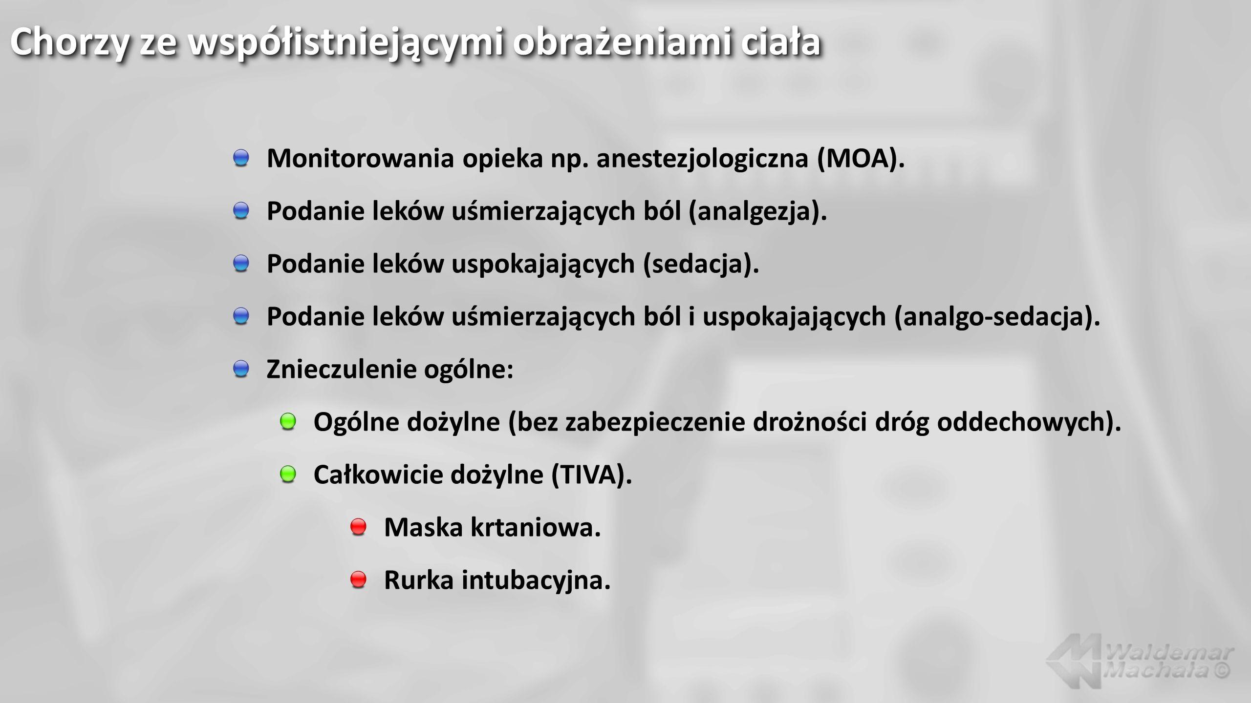Chorzy ze współistniejącymi obrażeniami ciała Monitorowania opieka np. anestezjologiczna (MOA). Podanie leków uśmierzających ból (analgezja). Podanie