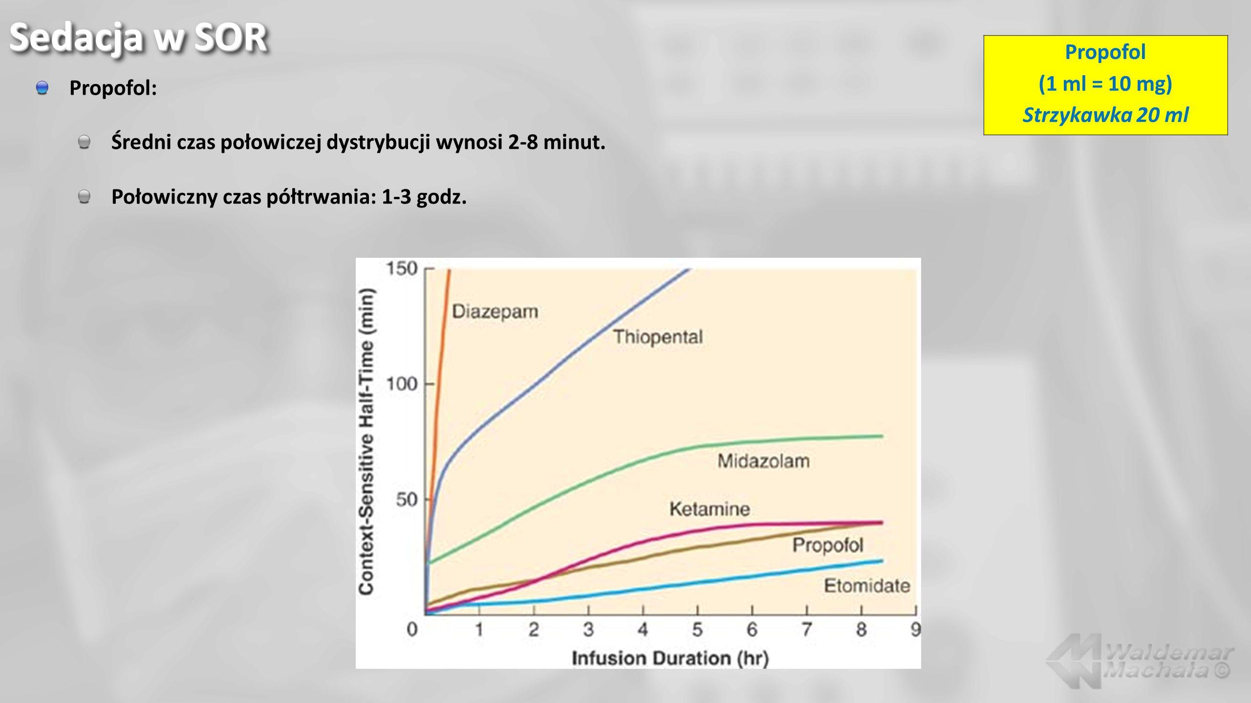 Propofol: Średni czas połowiczej dystrybucji wynosi 2-8 minut. Połowiczny czas półtrwania: 1-3 godz. Sedacja w SOR Propofol (1 ml = 10 mg) Strzykawka