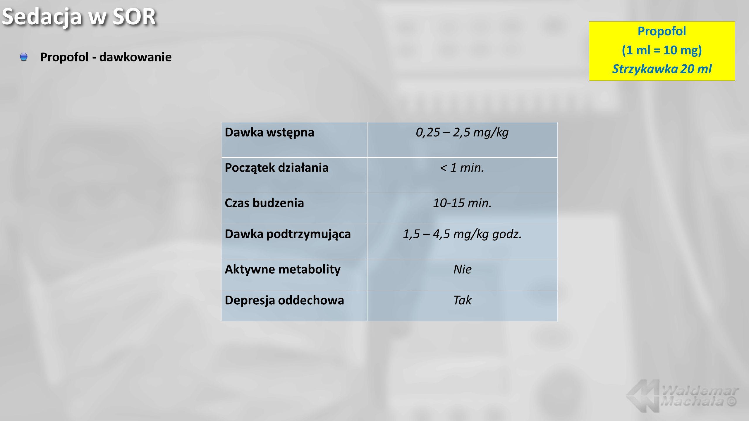 Sedacja w SOR Propofol - dawkowanie Dawka wstępna0,25 – 2,5 mg/kg Początek działania< 1 min. Czas budzenia10-15 min. Dawka podtrzymująca1,5 – 4,5 mg/k