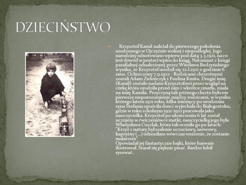 Krzysztof Kamil należał do pierwszego pokolenia urodzonego w Ojczyźnie wolnej i niepodległej. Jego narodziny odnotowano wpierw pod datą 3.3.1921, na c