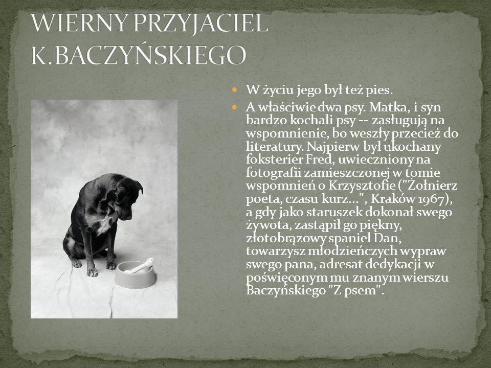 W życiu jego był też pies. A właściwie dwa psy. Matka, i syn bardzo kochali psy -- zasługują na wspomnienie, bo weszły przecież do literatury. Najpier