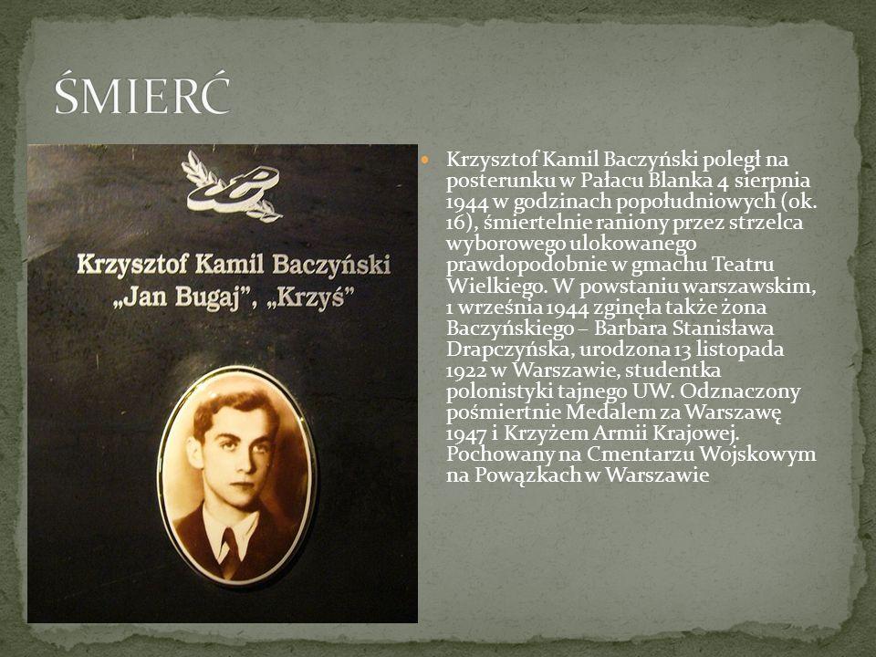 Krzysztof Kamil Baczyński poległ na posterunku w Pałacu Blanka 4 sierpnia 1944 w godzinach popołudniowych (ok. 16), śmiertelnie raniony przez strzelca