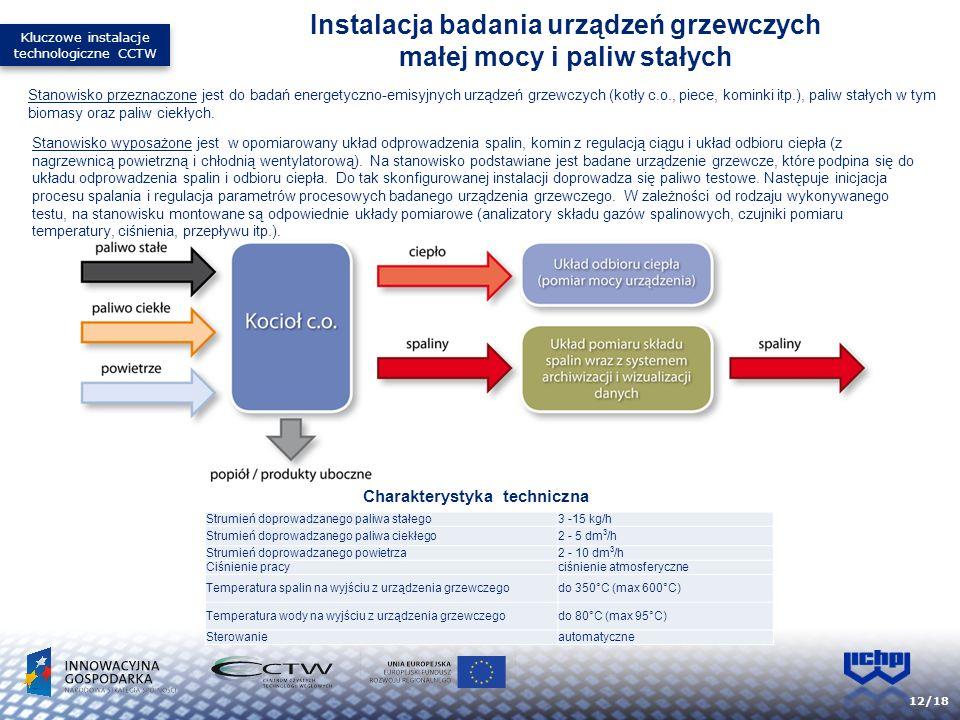 12/18 Stanowisko przeznaczone jest do badań energetyczno-emisyjnych urządzeń grzewczych (kotły c.o., piece, kominki itp.), paliw stałych w tym biomasy