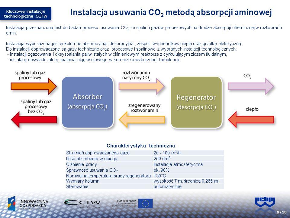 9/18 Instalacja przeznaczona jest do badań procesu usuwania CO 2 ze spalin i gazów procesowych na drodze absorpcji chemicznej w roztworach amin. Insta