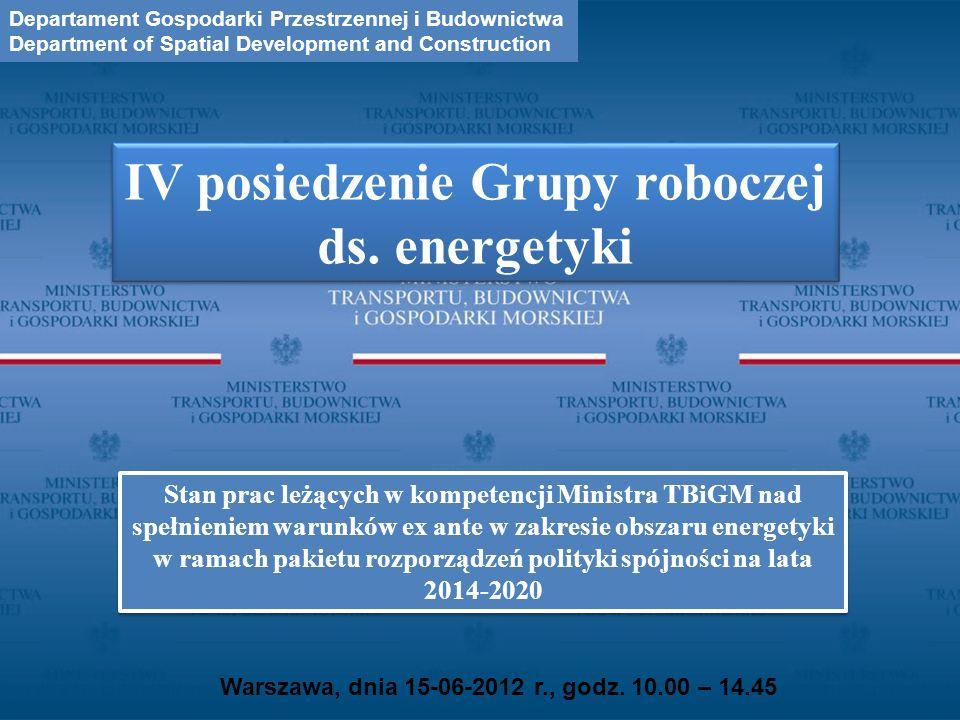 Warszawa, dnia 15-06-2012 r., godz. 10.00 – 14.45 IV posiedzenie Grupy roboczej ds. energetyki Departament Gospodarki Przestrzennej i Budownictwa Depa