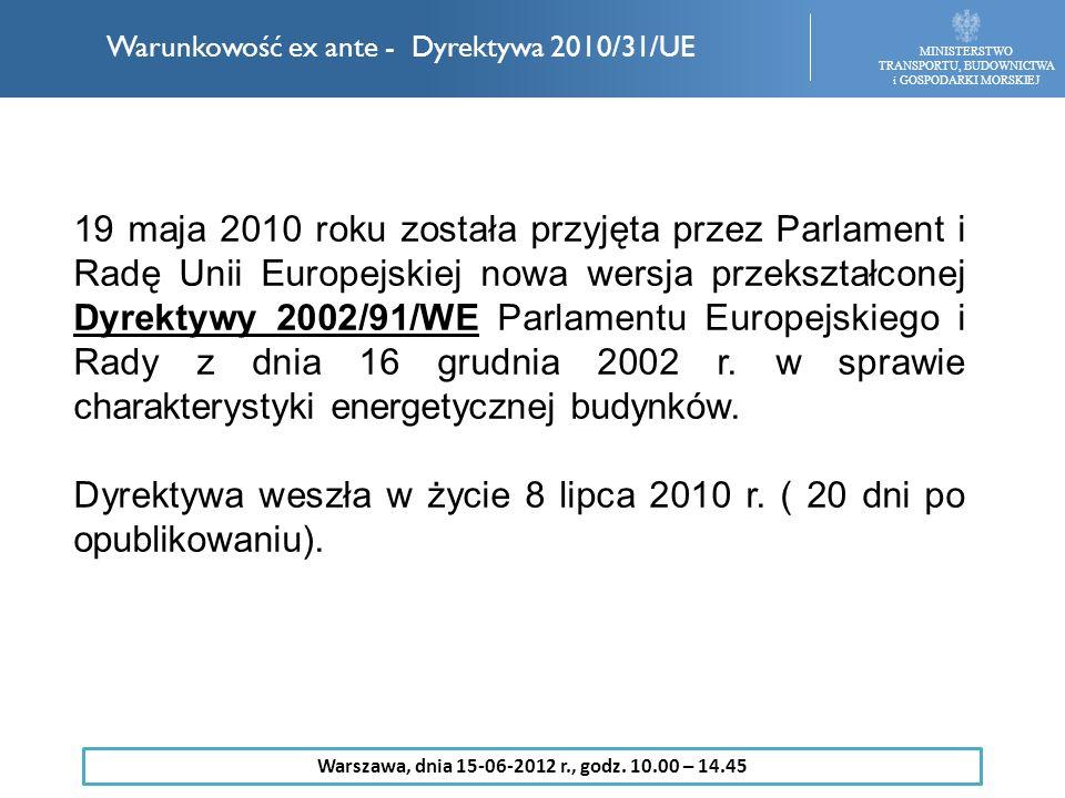 19 maja 2010 roku została przyjęta przez Parlament i Radę Unii Europejskiej nowa wersja przekształconej Dyrektywy 2002/91/WE Parlamentu Europejskiego