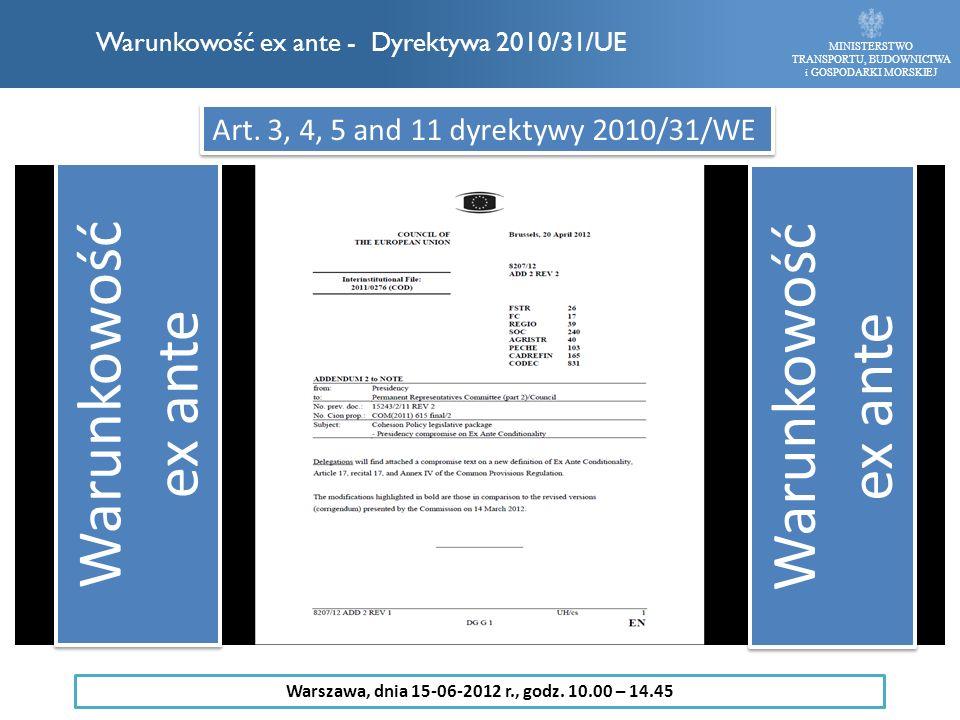 Warunkowość ex ante - Dyrektywa 2010/31/UE MINISTERSTWO TRANSPORTU, BUDOWNICTWA i GOSPODARKI MORSKIEJ Art. 3, 4, 5 and 11 dyrektywy 2010/31/WE Warunko