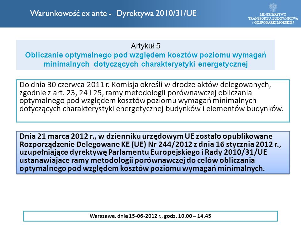 Do dnia 30 czerwca 2011 r. Komisja określi w drodze aktów delegowanych, zgodnie z art. 23, 24 i 25, ramy metodologii porównawczej obliczania optymalne