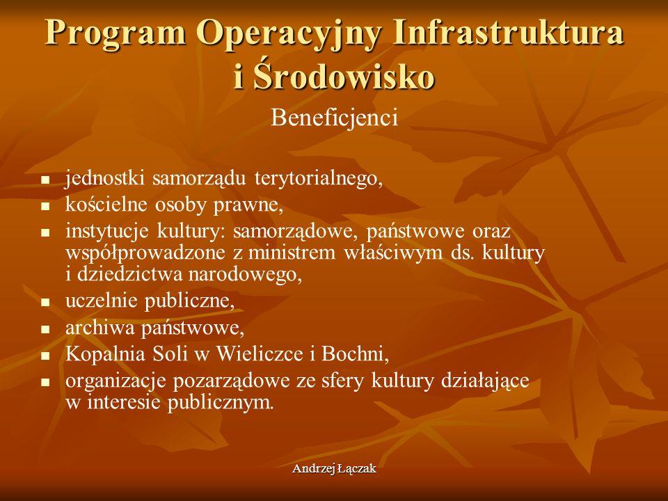 Andrzej Łączak Program Operacyjny Infrastruktura i Środowisko Beneficjenci jednostki samorządu terytorialnego, kościelne osoby prawne, instytucje kult