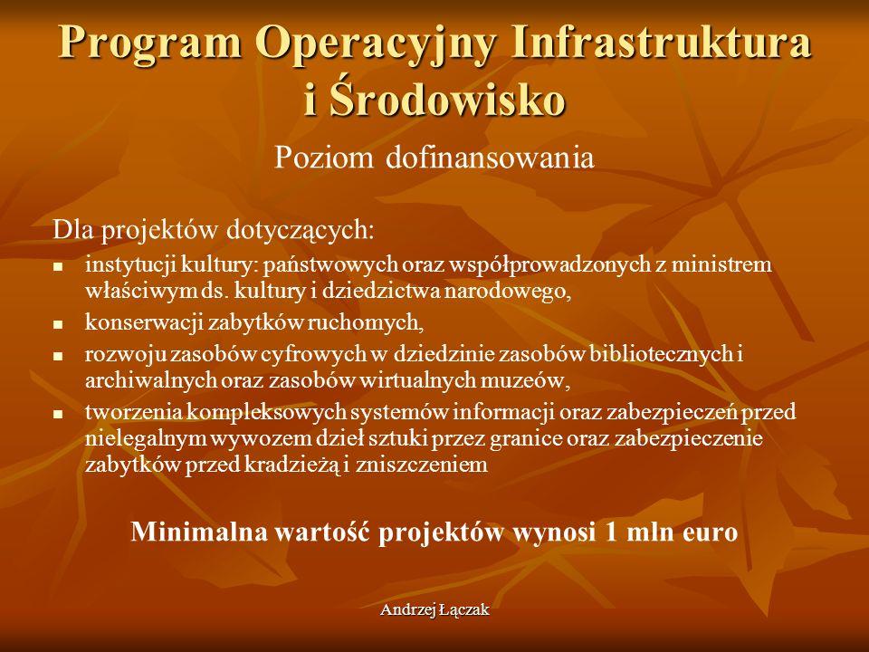 Andrzej Łączak Program Operacyjny Infrastruktura i Środowisko Poziom dofinansowania Dla projektów dotyczących: instytucji kultury: państwowych oraz ws