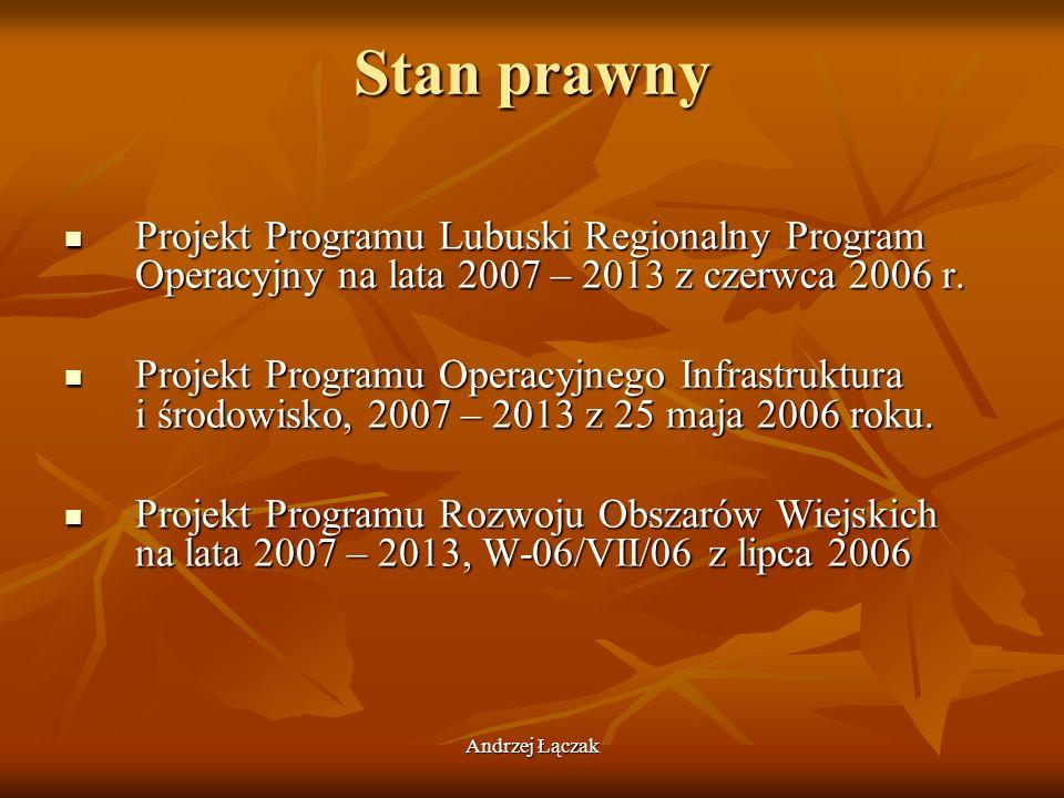Andrzej Łączak Stan prawny Projekt Programu Lubuski Regionalny Program Operacyjny na lata 2007 – 2013 z czerwca 2006 r. Projekt Programu Lubuski Regio