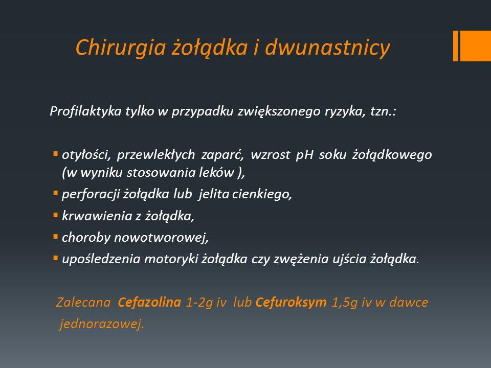 Chirurgia żołądka i dwunastnicy Profilaktyka tylko w przypadku zwiększonego ryzyka, tzn.: otyłości, przewlekłych zaparć, wzrost pH soku żołądkowego (w