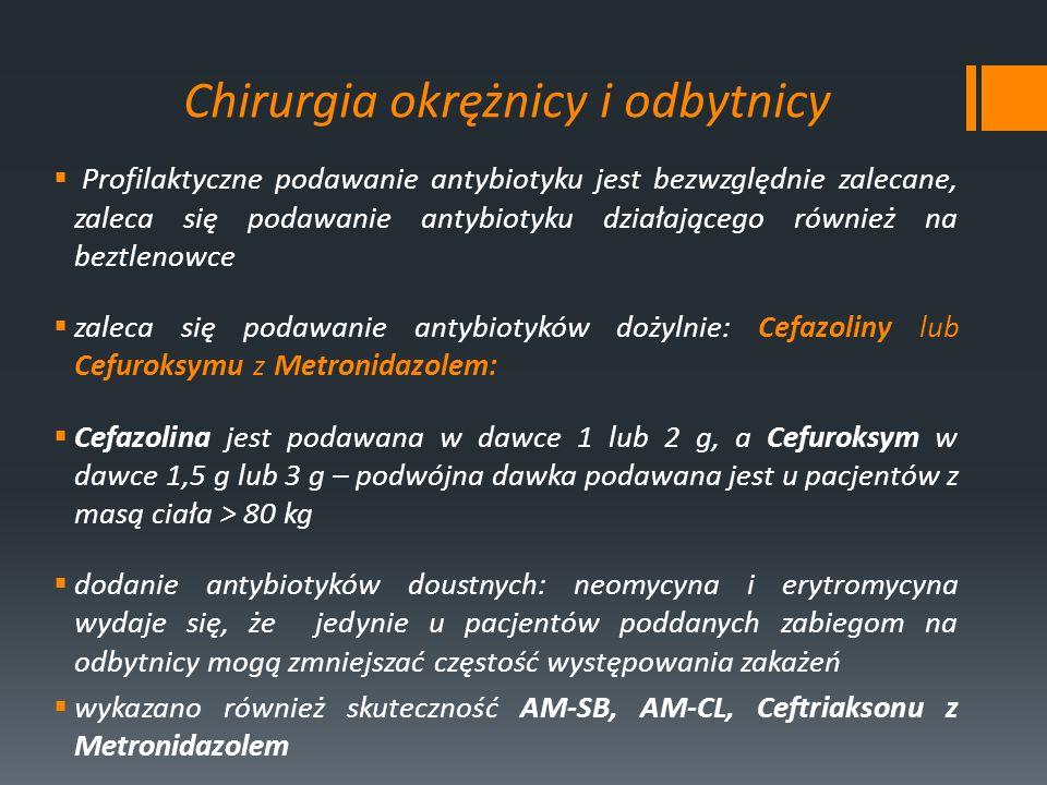 Chirurgia okrężnicy i odbytnicy Profilaktyczne podawanie antybiotyku jest bezwzględnie zalecane, zaleca się podawanie antybiotyku działającego również