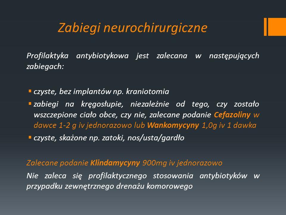 Zabiegi neurochirurgiczne Profilaktyka antybiotykowa jest zalecana w następujących zabiegach: czyste, bez implantów np. kraniotomia zabiegi na kręgosł