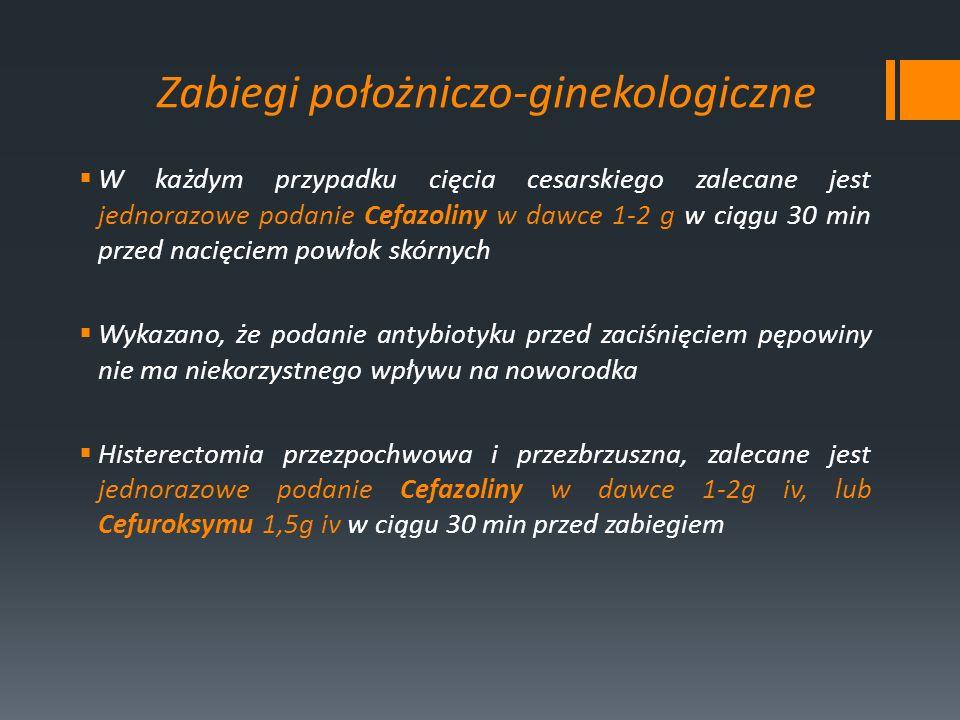 Zabiegi położniczo-ginekologiczne W każdym przypadku cięcia cesarskiego zalecane jest jednorazowe podanie Cefazoliny w dawce 1-2 g w ciągu 30 min prze