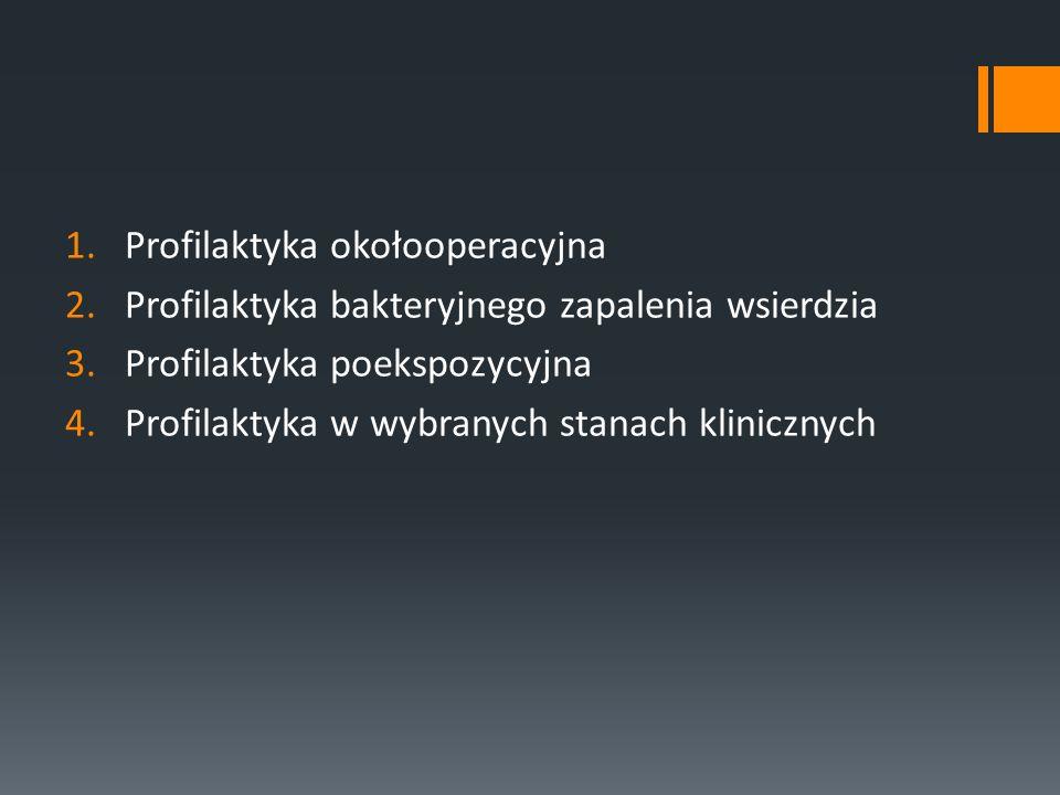 1.Profilaktyka okołooperacyjna 2.Profilaktyka bakteryjnego zapalenia wsierdzia 3.Profilaktyka poekspozycyjna 4.Profilaktyka w wybranych stanach klinic