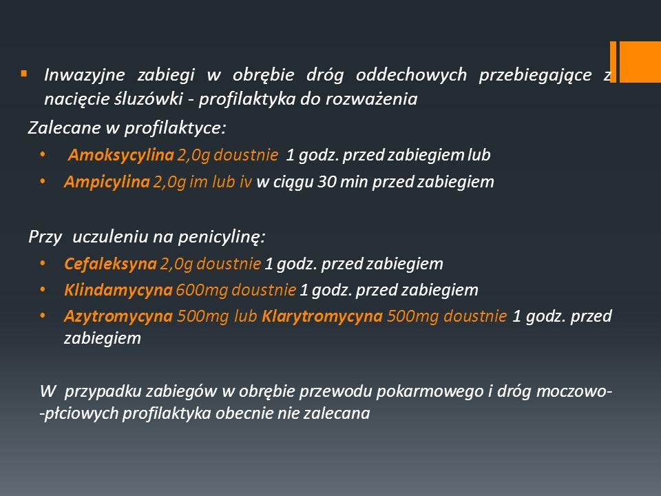Inwazyjne zabiegi w obrębie dróg oddechowych przebiegające z nacięcie śluzówki - profilaktyka do rozważenia Zalecane w profilaktyce: Amoksycylina 2,0g