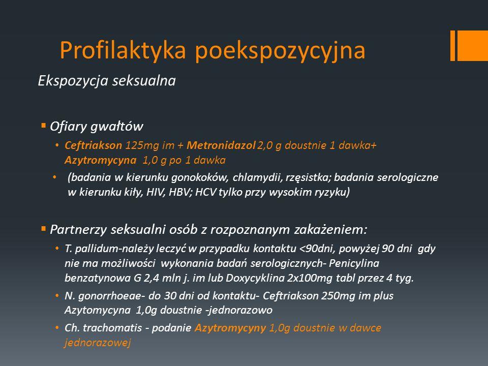 Profilaktyka poekspozycyjna Ekspozycja seksualna Ofiary gwałtów Ceftriakson 125mg im + Metronidazol 2,0 g doustnie 1 dawka+ Azytromycyna 1,0 g po 1 da