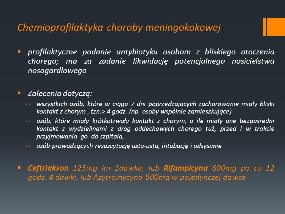 Chemioprofilaktyka choroby meningokokowej profilaktyczne podanie antybiotyku osobom z bliskiego otoczenia chorego; ma za zadanie likwidację potencjaln