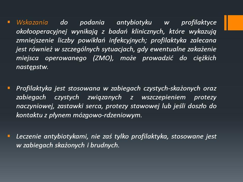 Rana czysta : zabieg planowy; rana pierwotnie zamknięta; bez urazu, bez cech zakażenia i procesu zapalnego w polu operacyjnym, bez naruszenia przewodu pokarmowego, dróg moczowo-płciowych, dróg oddechowych, jamy ustnej i gardła; bez złamania zasad aseptyki - ryzyko ZMO < 2% Rana czysta-skażona : zabieg z kontrolowanym otwarciem dróg moczowych, dróg oddechowych, przewodu pokarmowego, bez wyraźnej kontaminacji ich treścią; zabiegi na drogach żółciowych bez cech ich zakażenia; zabiegi z dostępem przez błonę śluzową jamy ustnej i gardła; zabiegi czyste, wykonywane w trybie pilnym; reoperacja w ciągu 7 dni po zabiegu czystym; uraz tępy - ryzyko ZMO < 10% Rana skażona : otwarta rana pourazowa; zabieg wykonany z naruszeniem zasad aseptyki; proces zapalny inny niż zakażenie w polu operacyjnym; penetrujący uraz w czasie < 4 godz.