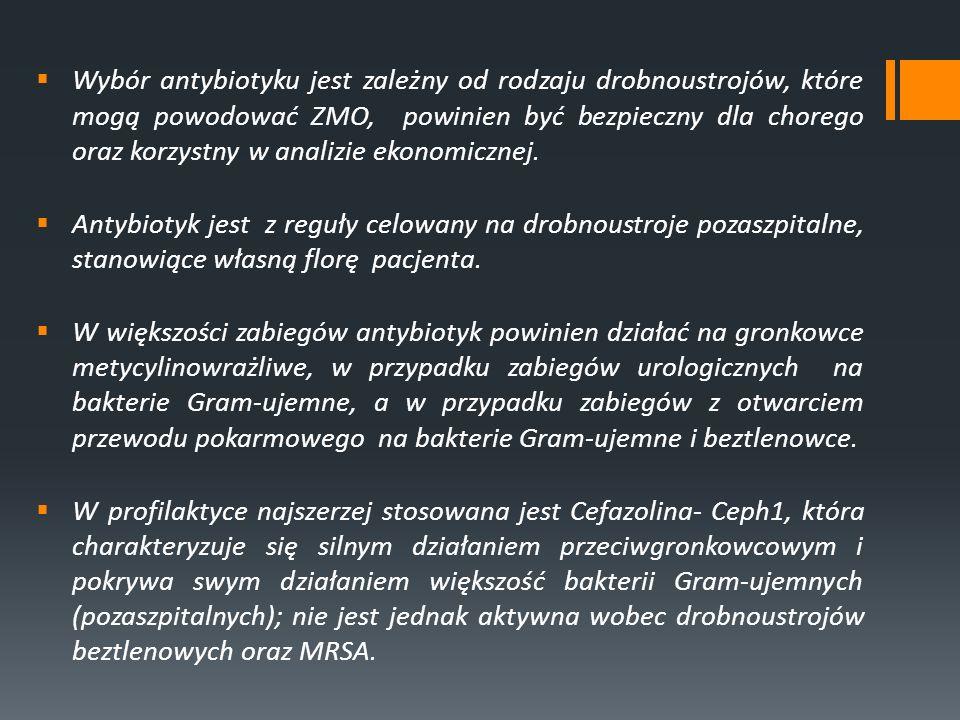 Zabiegi ortopedyczne Profilaktyka antybiotykowa jest zalecana w następujących zabiegach: Leczenie operacyjne zamkniętych złamań kości długich Zabiegi na kręgosłupie Zalecane: Cefazolina 1-2g iv jednorazowo lub Ceftriakson 2,0g iv w pojedynczej dawce Pierwotna całkowita artroplastyka stawowa Zalecane: Cefazolina 1-2giv jednorazowo lub Cefuroksym 1,5g iv; u pacjentów uczulonych na beta-laktamy Wankomycyna lub Klindamycyna, u nosicieli MRSA – Wankomycyna Nie wymagają profilaktyki okołooperacyjnej: Czyste zabiegi w obrębie stawu kolanowego, ręki, stopy, w tym artroskopia, jeżeli nie zostało wszczepione ciało obce Amputacja kończyny
