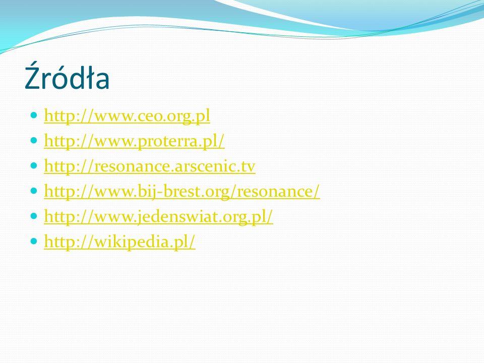 Źródła http://www.ceo.org.pl http://www.proterra.pl/ http://resonance.arscenic.tv http://www.bij-brest.org/resonance/ http://www.jedenswiat.org.pl/ ht
