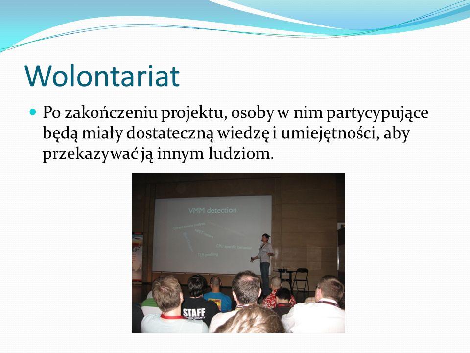 Wolontariat Po zakończeniu projektu, osoby w nim partycypujące będą miały dostateczną wiedzę i umiejętności, aby przekazywać ją innym ludziom.