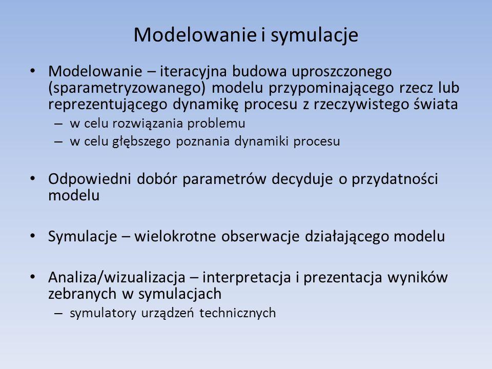 Modelowanie i symulacje Modelowanie – iteracyjna budowa uproszczonego (sparametryzowanego) modelu przypominającego rzecz lub reprezentującego dynamikę procesu z rzeczywistego świata – w celu rozwiązania problemu – w celu głębszego poznania dynamiki procesu Odpowiedni dobór parametrów decyduje o przydatności modelu Symulacje – wielokrotne obserwacje działającego modelu Analiza/wizualizacja – interpretacja i prezentacja wyników zebranych w symulacjach – symulatory urządzeń technicznych