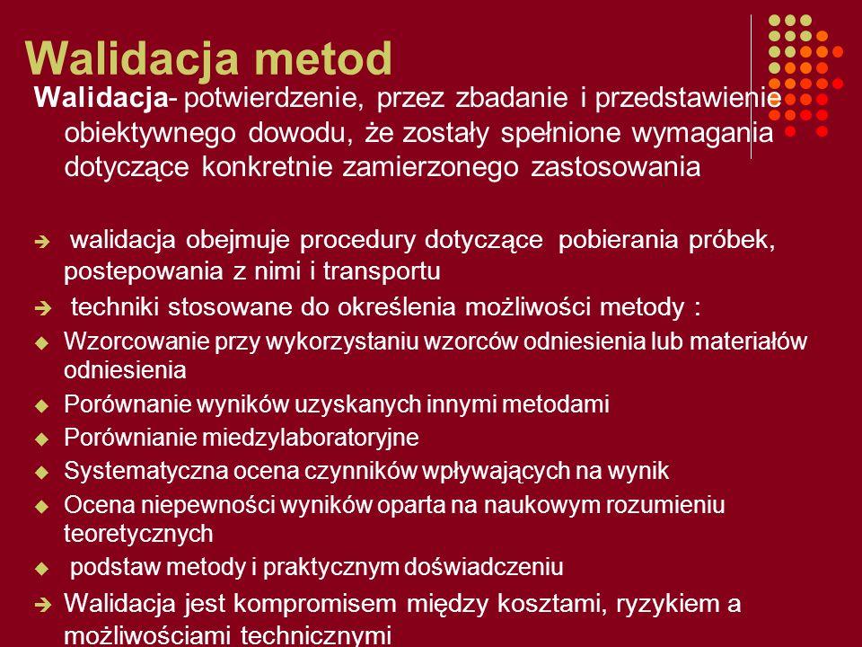 Walidacja metod Walidacja- potwierdzenie, przez zbadanie i przedstawienie obiektywnego dowodu, że zostały spełnione wymagania dotyczące konkretnie zam