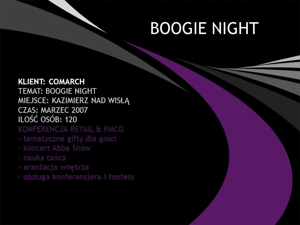 BOOGIE NIGHT KLIENT: COMARCH TEMAT: BOOGIE NIGHT MIEJSCE: KAZIMIERZ NAD WISŁĄ CZAS: MARZEC 2007 ILOŚĆ OSÓB: 120 KONFERENCJA RETAIL & FMCG - tematyczne gifty dla gości - koncert Abba Show - nauka tańca - aranżacja wnętrza - obsługa konferansjera i hostess