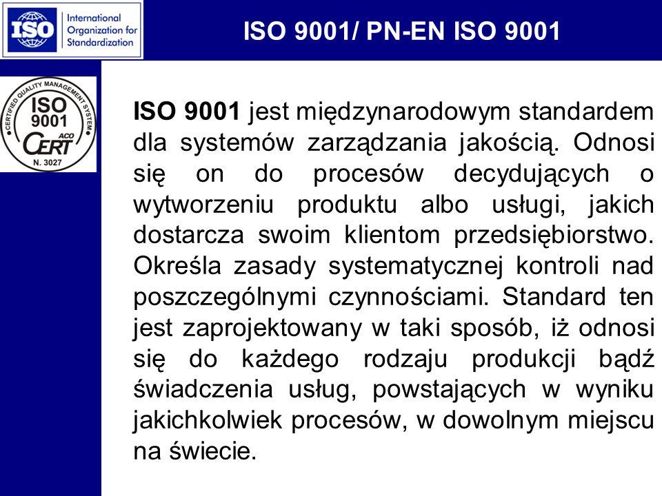 ISO 9001/ PN-EN ISO 9001 ISO 9001 jest międzynarodowym standardem dla systemów zarządzania jakością. Odnosi się on do procesów decydujących o wytworze