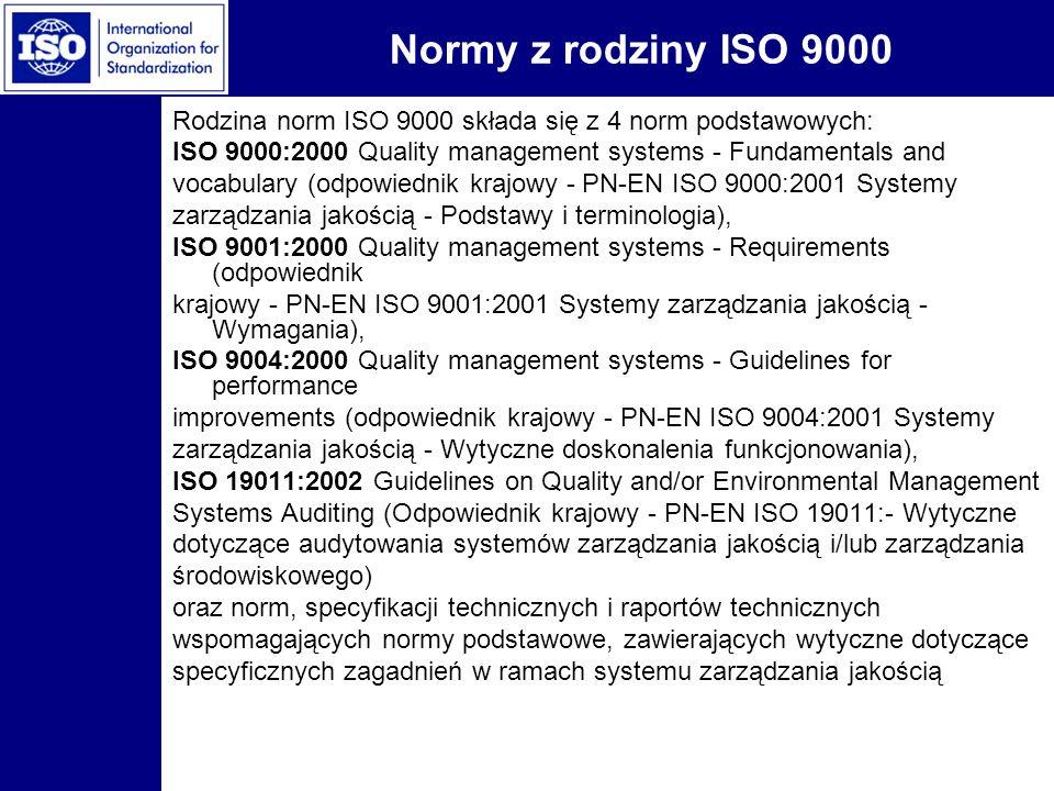 Normy z rodziny ISO 9000 Rodzina norm ISO 9000 składa się z 4 norm podstawowych: ISO 9000:2000 Quality management systems - Fundamentals and vocabular