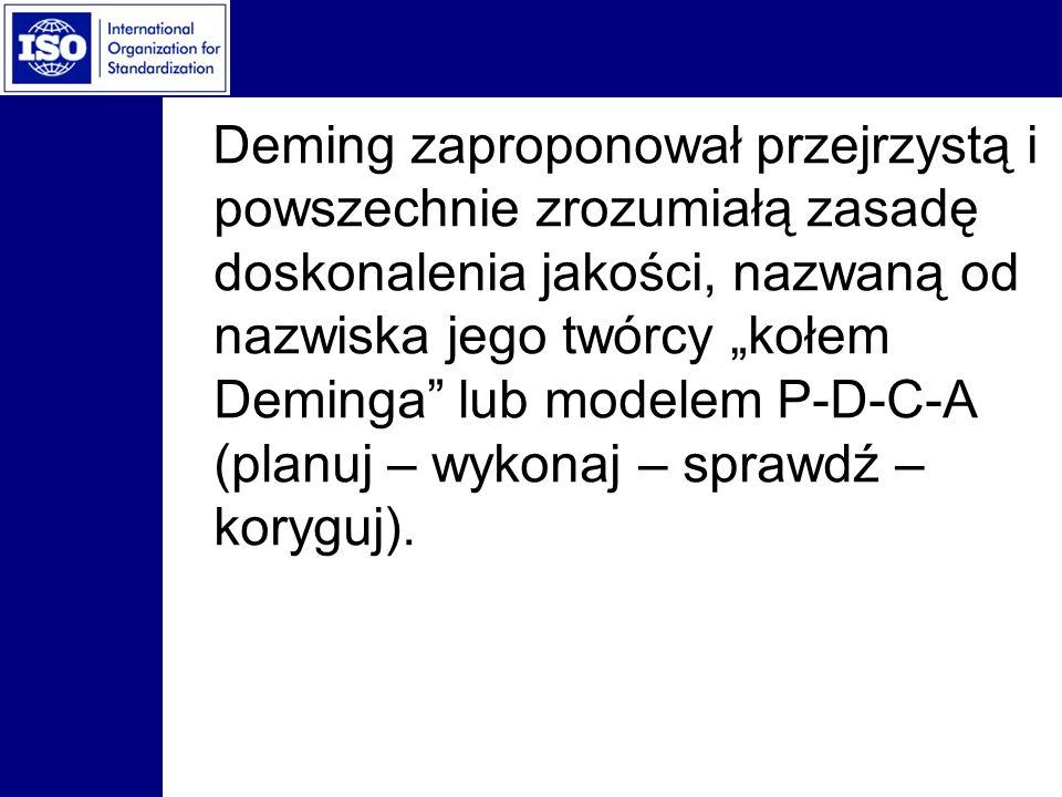 Deming zaproponował przejrzystą i powszechnie zrozumiałą zasadę doskonalenia jakości, nazwaną od nazwiska jego twórcy kołem Deminga lub modelem P-D-C-