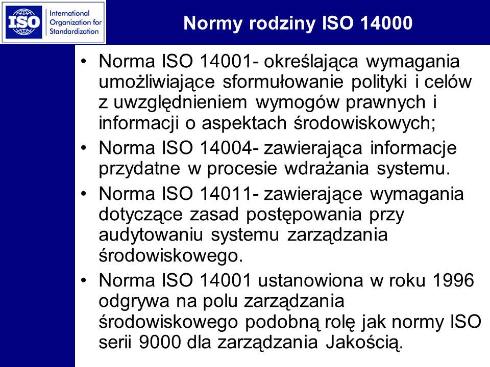 Normy rodziny ISO 14000 Norma ISO 14001- określająca wymagania umożliwiające sformułowanie polityki i celów z uwzględnieniem wymogów prawnych i inform
