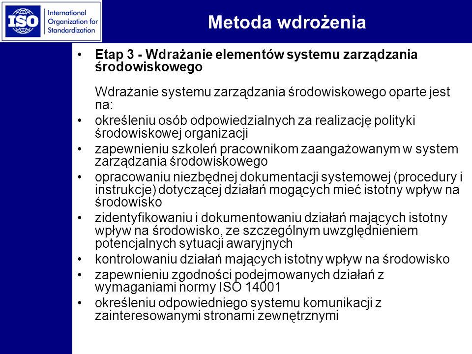Metoda wdrożenia Etap 3 - Wdrażanie elementów systemu zarządzania środowiskowego Wdrażanie systemu zarządzania środowiskowego oparte jest na: określen