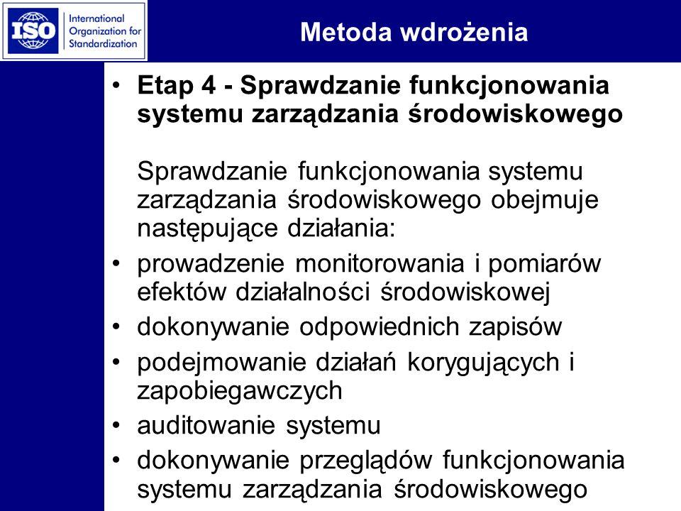 Metoda wdrożenia Etap 4 - Sprawdzanie funkcjonowania systemu zarządzania środowiskowego Sprawdzanie funkcjonowania systemu zarządzania środowiskowego