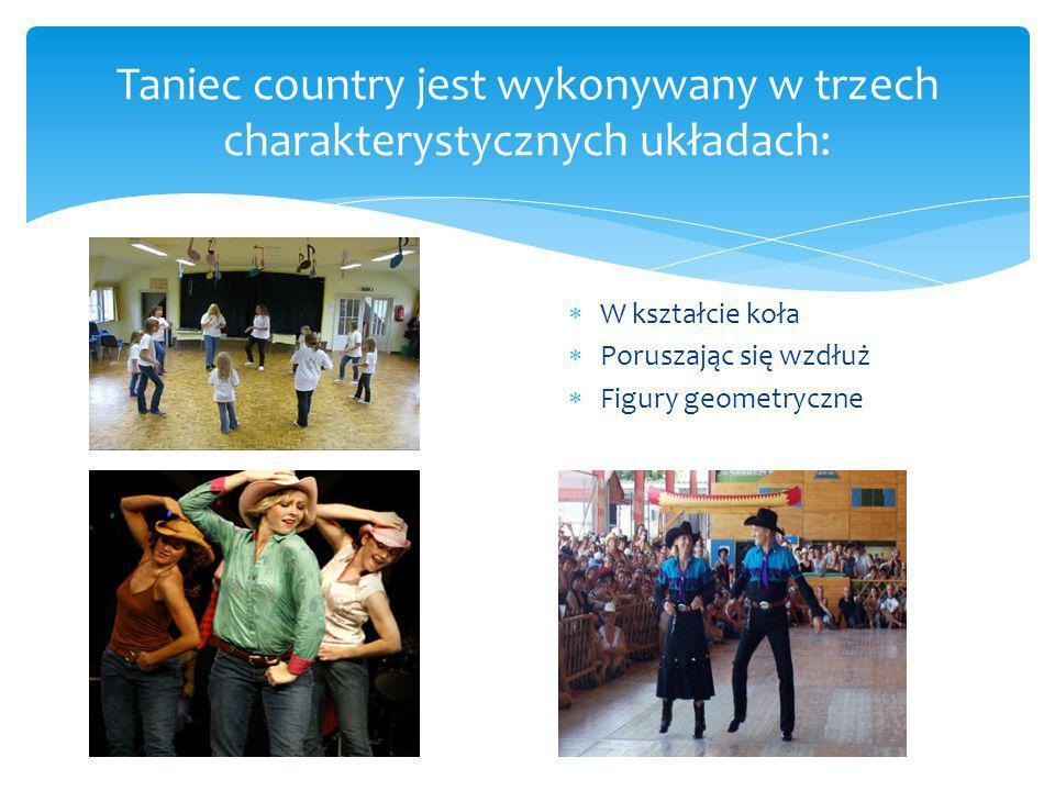 W kształcie koła Poruszając się wzdłuż Figury geometryczne Taniec country jest wykonywany w trzech charakterystycznych układach: