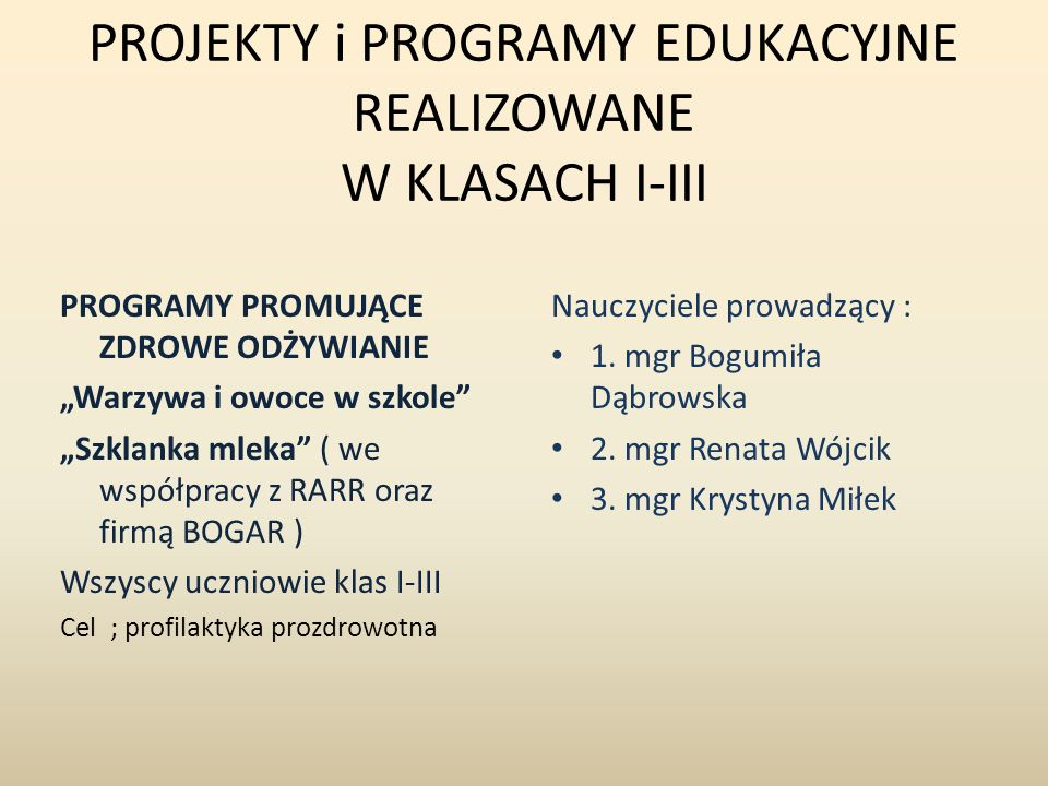 PROJEKTY i PROGRAMY EDUKACYJNE REALIZOWANE W KLASACH I-III PROGRAMY PROMUJĄCE ZDROWE ODŻYWIANIE Warzywa i owoce w szkole Szklanka mleka ( we współpracy z RARR oraz firmą BOGAR ) Wszyscy uczniowie klas I-III Cel ; profilaktyka prozdrowotna Nauczyciele prowadzący : 1.
