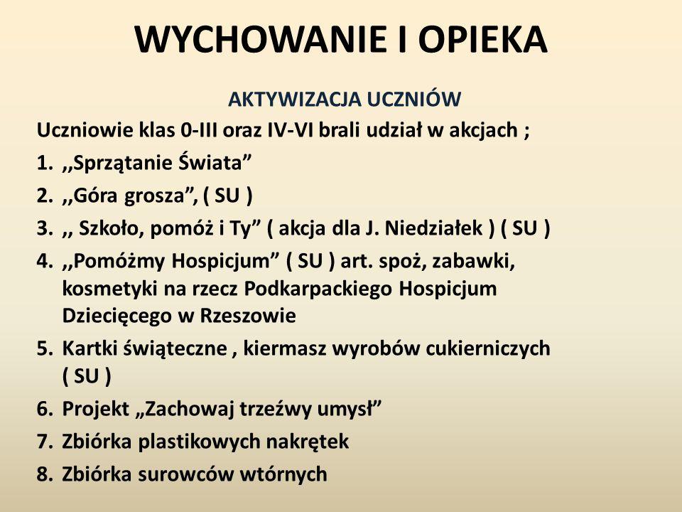 WYCHOWANIE I OPIEKA Uczniowie klas 0-III oraz IV-VI brali udział w akcjach ; 1.,,Sprzątanie Świata 2.,,Góra grosza, ( SU ) 3.,, Szkoło, pomóż i Ty ( akcja dla J.
