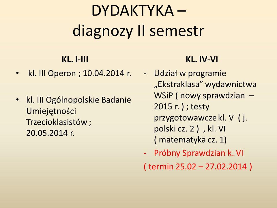 DYDAKTYKA – diagnozy II semestr KL.I-IIIKL. IV-VI kl.