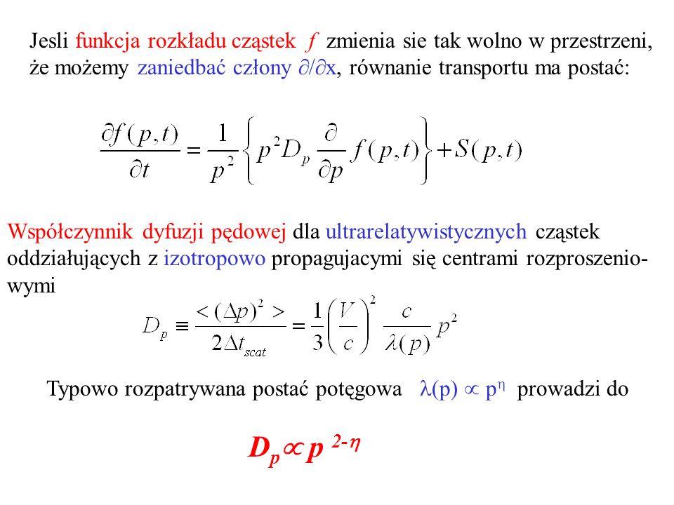 Jesli funkcja rozkładu cząstek f zmienia sie tak wolno w przestrzeni, że możemy zaniedbać człony / x, równanie transportu ma postać: Współczynnik dyfuzji pędowej dla ultrarelatywistycznych cząstek oddziałujących z izotropowo propagujacymi się centrami rozproszenio- wymi Typowo rozpatrywana postać potęgowa (p) p prowadzi do D p p 2-