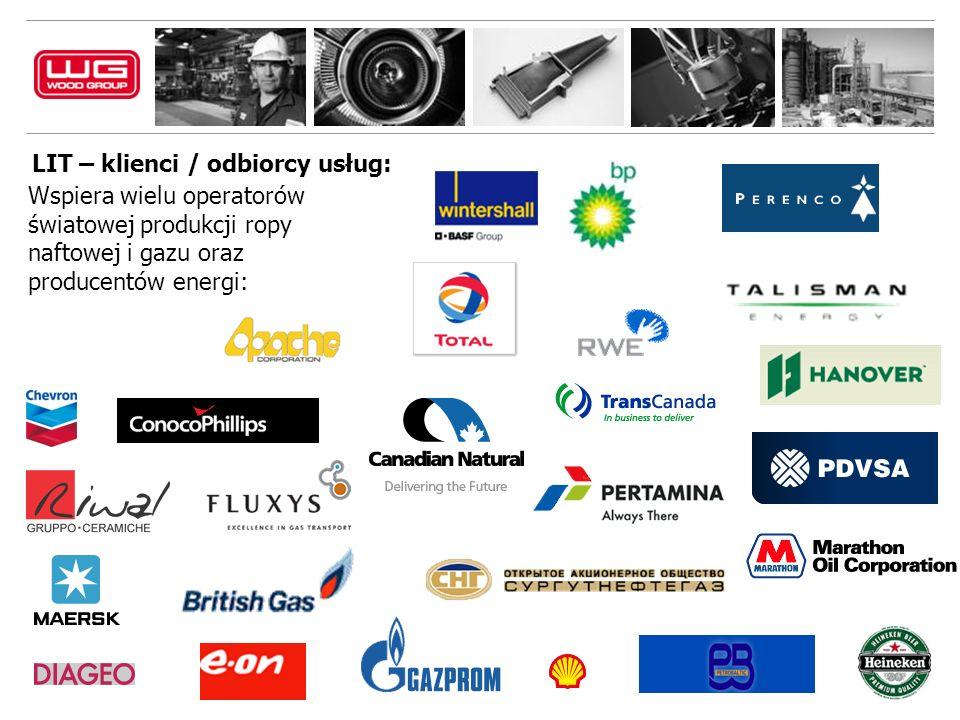 LIT – klienci / odbiorcy usług: Wspiera wielu operatorów światowej produkcji ropy naftowej i gazu oraz producentów energi:
