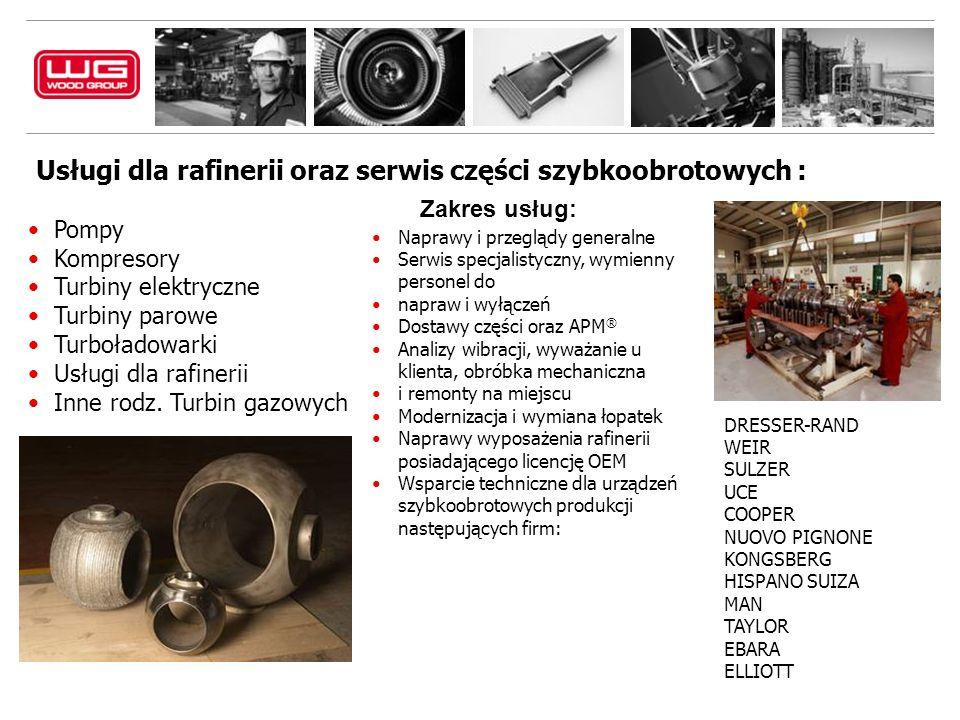 Usługi dla rafinerii oraz serwis części szybkoobrotowych : Pompy Kompresory Turbiny elektryczne Turbiny parowe Turboładowarki Usługi dla rafinerii Inne rodz.