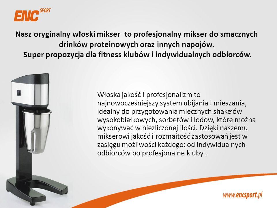 Nasz oryginalny włoski mikser to profesjonalny mikser do smacznych drinków proteinowych oraz innych napojów. Super propozycja dla fitness klubów i ind
