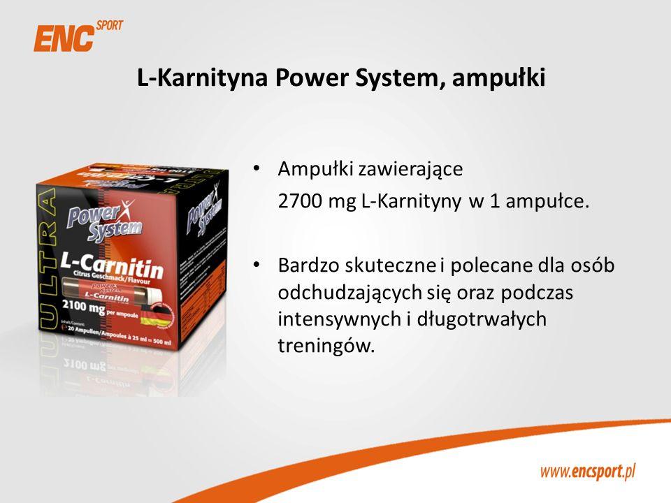 L-Karnityna Power System, ampułki Ampułki zawierające 2700 mg L-Karnityny w 1 ampułce. Bardzo skuteczne i polecane dla osób odchudzających się oraz po