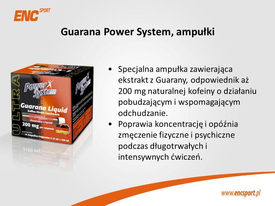 Guarana Power System, ampułki Specjalna ampułka zawierająca ekstrakt z Guarany, odpowiednik aż 200 mg naturalnej kofeiny o działaniu pobudzającym i ws