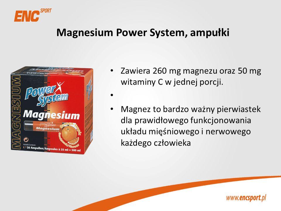 Magnesium Power System, ampułki Zawiera 260 mg magnezu oraz 50 mg witaminy C w jednej porcji. Magnez to bardzo ważny pierwiastek dla prawidłowego funk